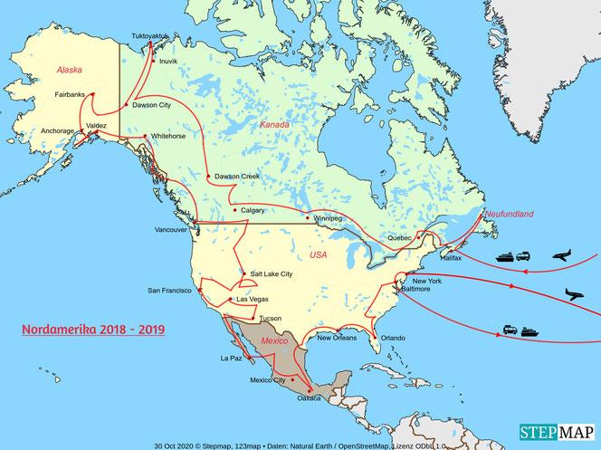 Übersichtskarte Nordamerika 2018-2019
