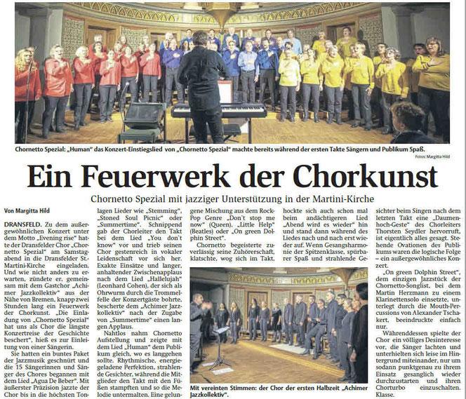 Auftritt in Dransfeld bei Göttingen auf Einladung von Cornetto Spezial