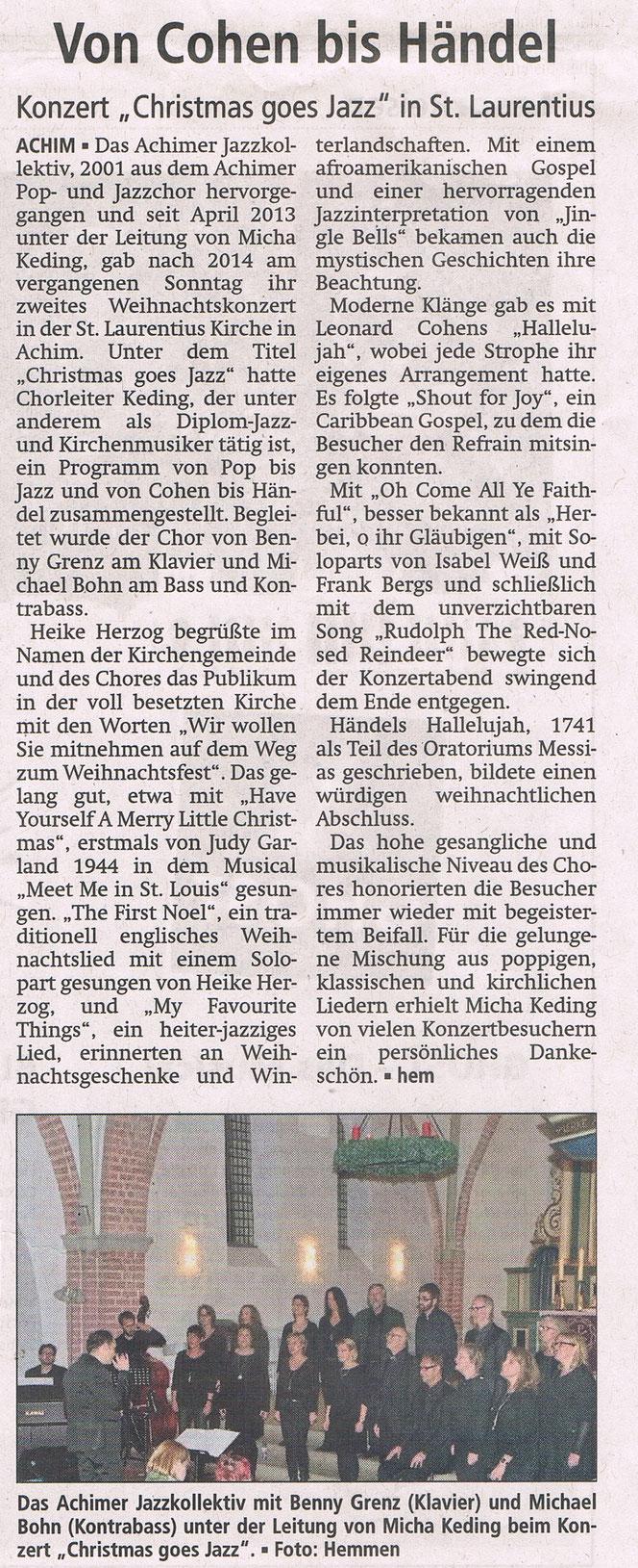 """Weihnachtskonzert """"Christmas goes Jazz"""" in der St. Laurentius Kirche in Achim"""