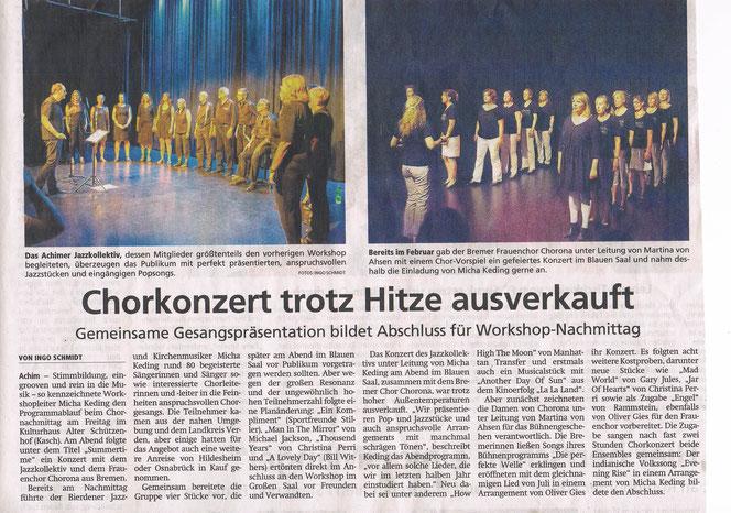 """Achimer Kreisblatt über das Konzert """"Summertime"""" im KASCH"""