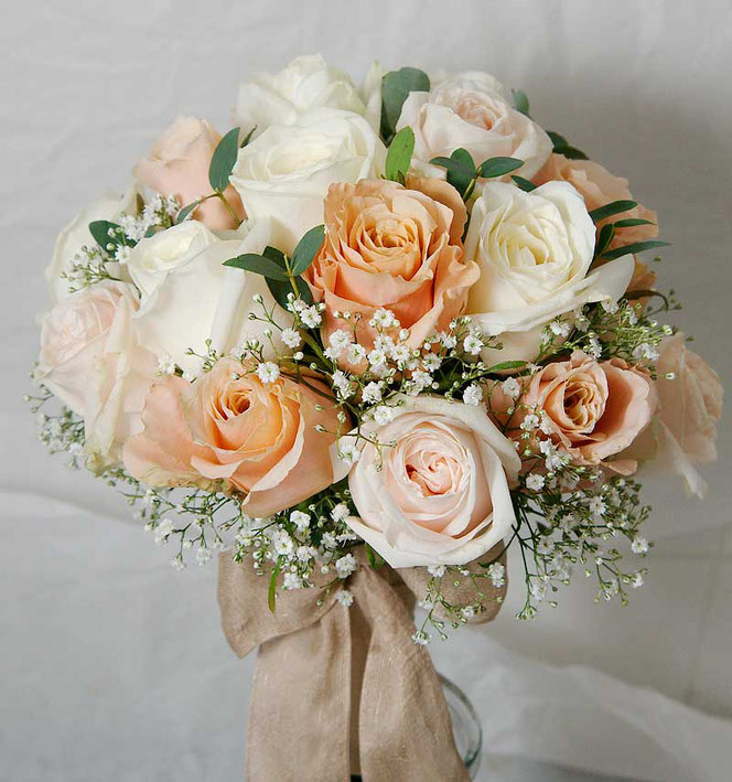 bridal bouquet in white, soft pink and peach