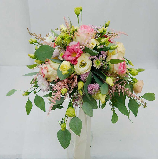 wedding bouquet in vintage style with eucalyptus