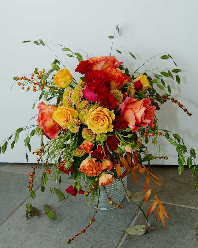 Brautstrauß Wien Orange Rot Vintage Style