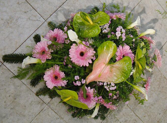Bukett für Begräbnis Wien in rosa