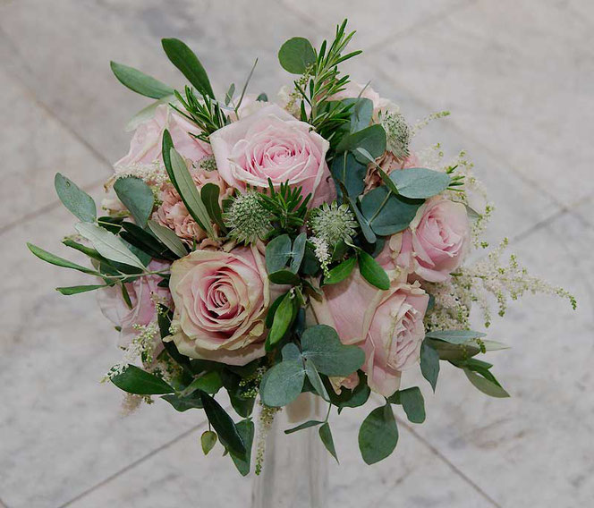 wedding bouquet with soft pink roses