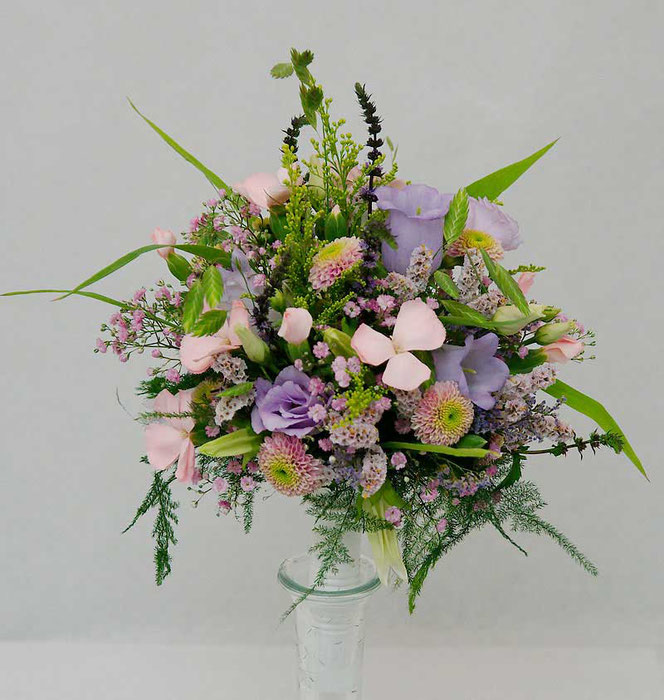 bridal bouquet with soft meadow flowers