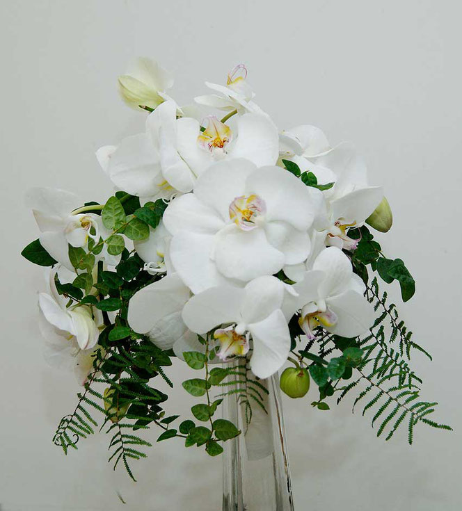 bridal bouquet with white orchids