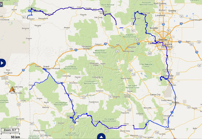 gefahrene Route durch Colorado