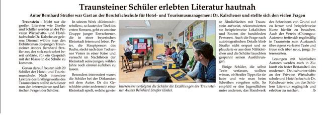 Jahreshighlight 2016: Als Autor einer Schullektüre in der Wirtschaftsschule Kalscheuer