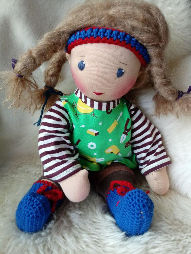 Puppenfreund, Bio-Stoffpuppe, Waldorfart, Wunschpuppe, ökologische Kinderpuppe, handgemachte Puppe, Puppenjunge, PuppenfürJungs, Puppe mit Leberflecken, Muttermal, ökofairliebt, individuelle Puppe