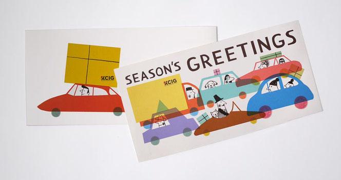 Heike Herold, Illustration, Autos, Weihnachtskarte, Sesongrüße, Jahresendgrüße, Klappkarte