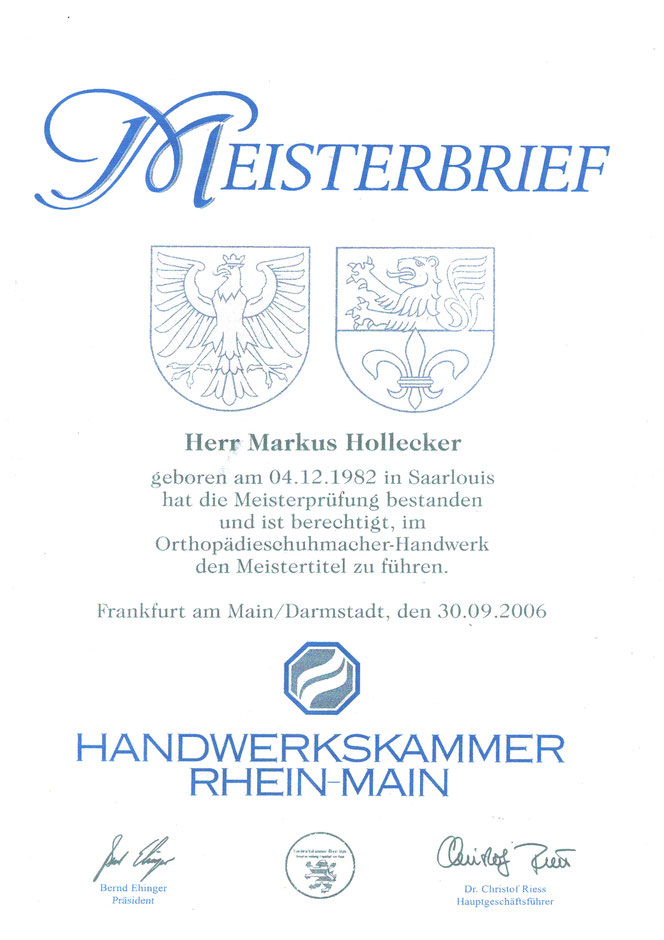 Meisterbrief Markus Hollecker