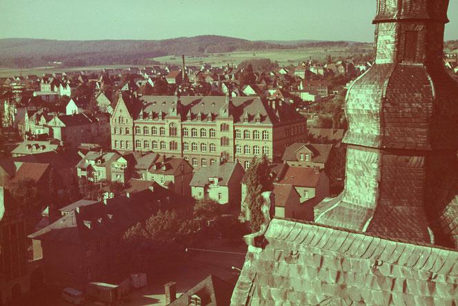 Blick vom Schloss in den 70er Jahren