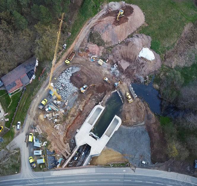Baustelle Hochwasserrückhaltebecken Erbach-Schönnen