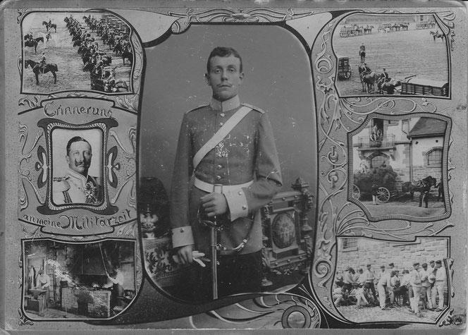 Bernhard August Ferdinand Albert Hartmann, Vater von Karl, Walter, Heinrich, Albert und Hedwig. Erinnerung an die Militärzeit, 1907, gedient  von Oktober 1906 bis September 1907 bei der 1. Kompanie des Elsässischen Train-Bataillons Nr. 15