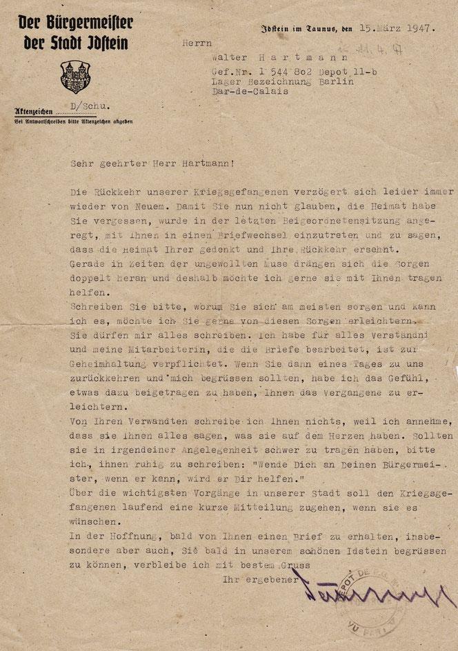 Ein Brief von Idsteins Bürgermeister Wilhelm Dahlhoff an Walter