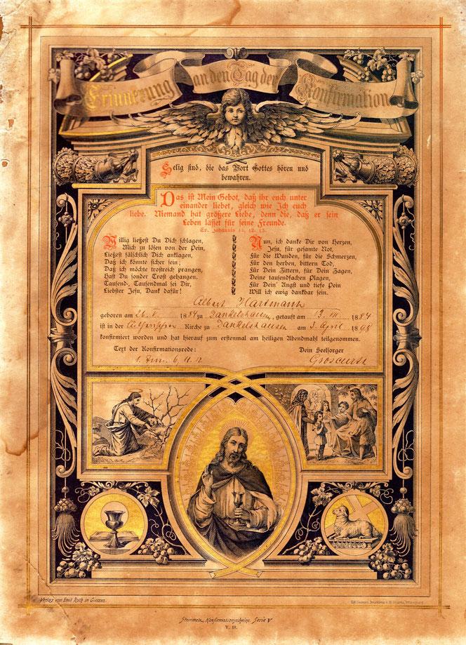 Zur Erinnerung an die Konfirmation 3. April 1898