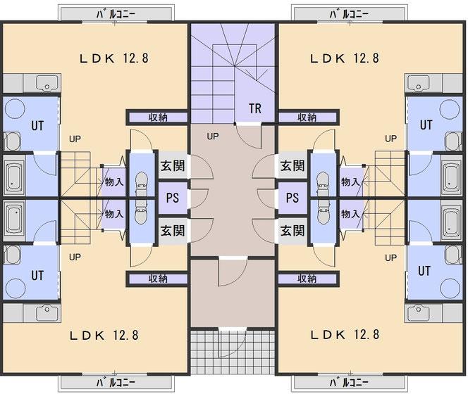 ハーベスト707の1階と3階の間取り図: テラスハウス1階部分となり、各部屋の玄関口となる