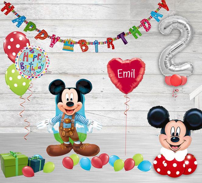 Versand Luftballon Ballon Heliumballon Paket Geburtstag  Party Kindergeburtstag Junge Mädchen mit Zahl Mouse Micky Happy Birthday personalisiert Personalisierung Girlande Maus Geschenk  Deko Dekoration Mickey