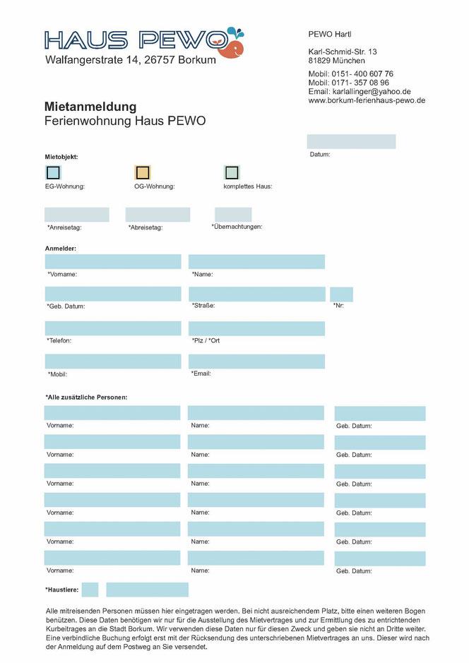 Anmeldeformular - Ferienhaus Pewo-Borkum Webseite!