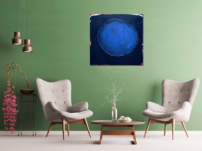 gemaltes bild blau