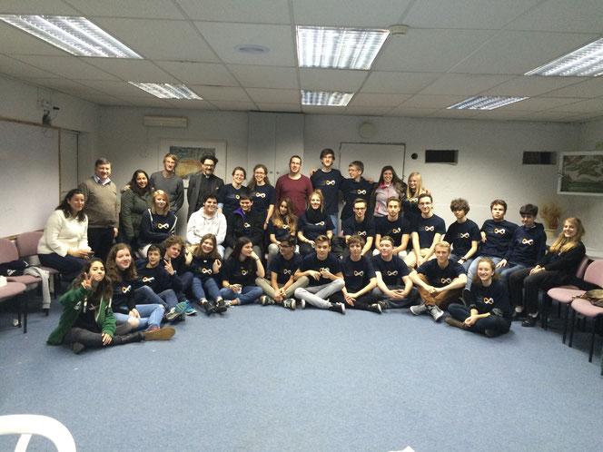 Teilnehmer der 1. Jugendbegegnung im Februar 2016 im Jugenddorf in Jerusalem