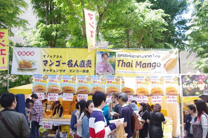 マンゴー名人直売 Thai Mango というインパクトのあるお店。「第14回 タイ・フェスティバル2013年 東京・代々木」の会場写真
