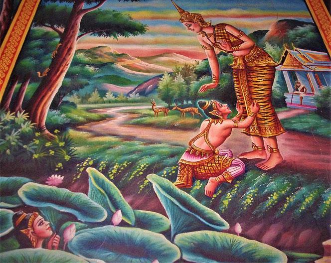 タイの寺院の壁画。すがりつく