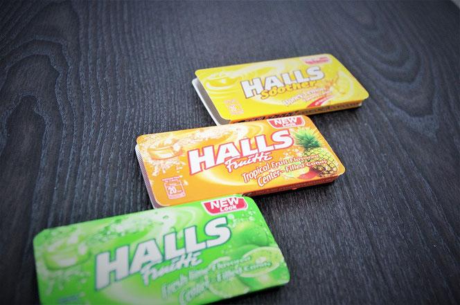タイ出張旅行で購入したホールズ(HALLS)キャンディーのお土産の写真