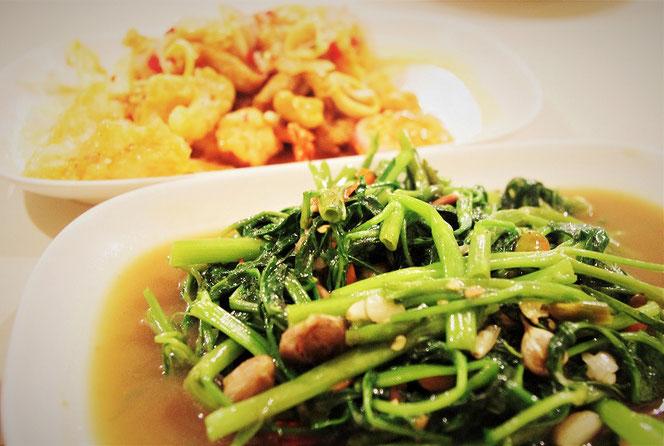 空心菜炒めの写真 タイ・バンコクにて