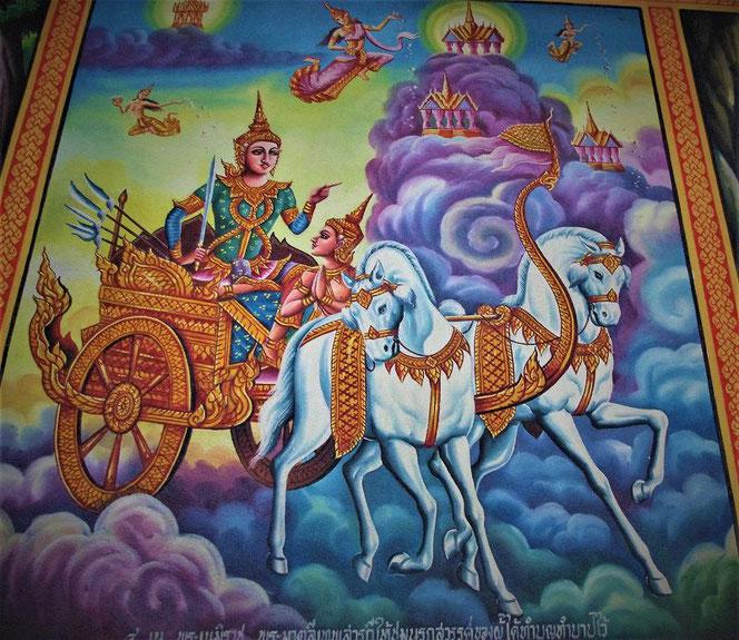 タイの寺院の壁画。白馬の馬車