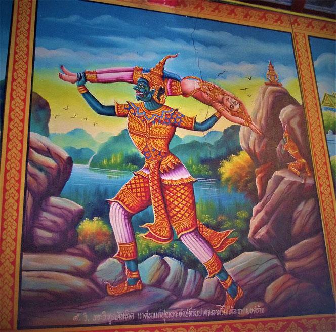 タイの寺院の壁画