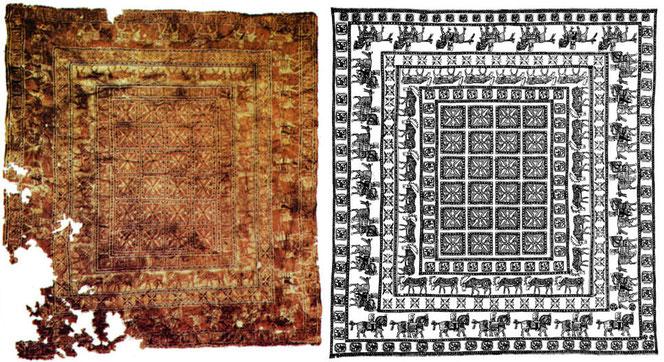 Le plus vieux tapis à points noués du monde, avec 360 000 nœuds / m2 et son schéma de composition