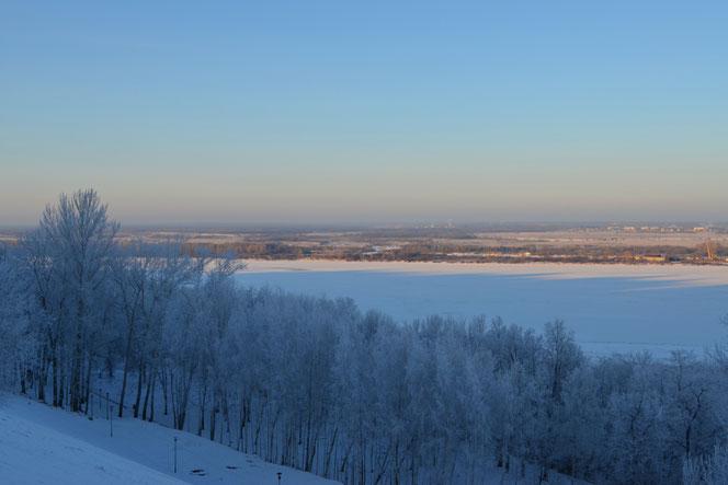 Die winterliche Wolga bei Nischni Nowgorod