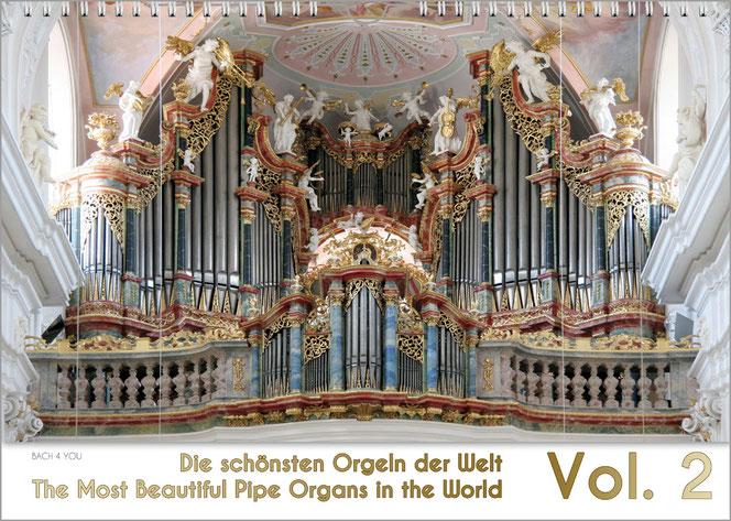 """Ein toller Orgelkalender. 2018 Im oberen Teil sieht man eine traumhafte barocke Orgel. Unten auf 10 % steht """"Die schönsten Orgel der Welt"""" auf weißem Untergrund. Rechts und riesig """"2018""""."""