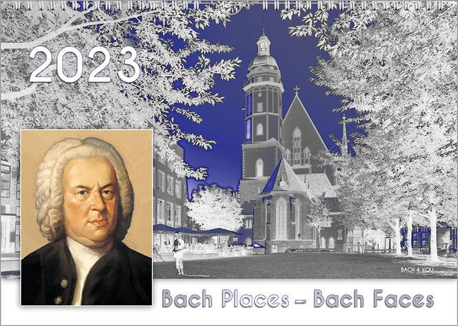 """Ein Komponisten-Kalender im Hochformat mit dem Titel unten auf dem Kalender: """"Komponisten in Blau und Grau"""". Abgebildet ist das Portrait von Wagner. Am linken Rand in der halben Bildhöhe ist die Jahreszahl."""