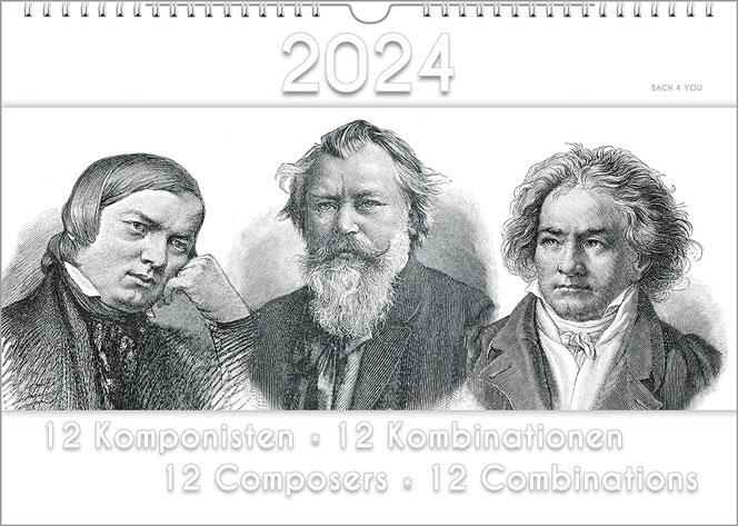 Ein Musik-Kalender, bzw. Komponisten-Kalender im Hochformat. Untergrund weiß. In der Bildmitte sind 3 historische Stiche: Portraits von, links, Schuman, daneben Brahms, dann Beethoven. Oben ist die Jahreszahl, unten der Titel.
