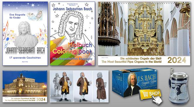 7 Musikgeschenke sind sichtbar: In der oberen Reihe sind es zwei Bücher und ein Musik-Kalender, unten ist es ein weiterer Musik-Kalender, eine Zinnfigur, ein Bach Gesamtwerk und ein Bach-Bierkrug.