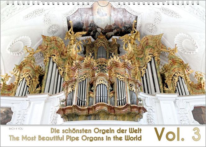 """Der Orgelkalender 2019. In den oberen 90 Prozent sieht man eine traumhafte barocke Orgel. Unten steht der Kalendertitel links: """"Die schönsten Orgeln der Welt"""", rechts eine riesige """"2019""""."""