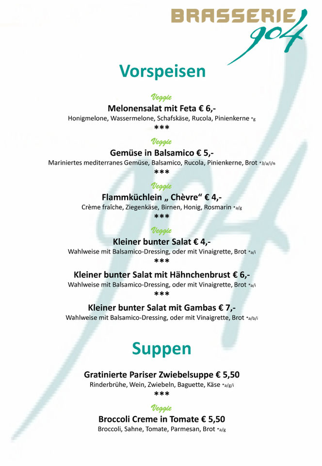 Brasserie 904 - Speisekarte Vorspeisen & Suppen