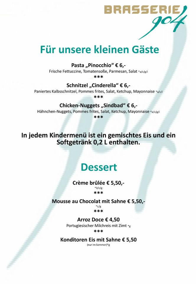 Brasserie 904 - Speisekarte Für unsere kleinen Gäste & Desserts