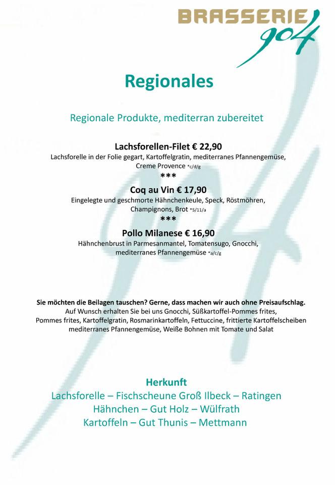 Brasserie 904 - Speisekarte Regionales