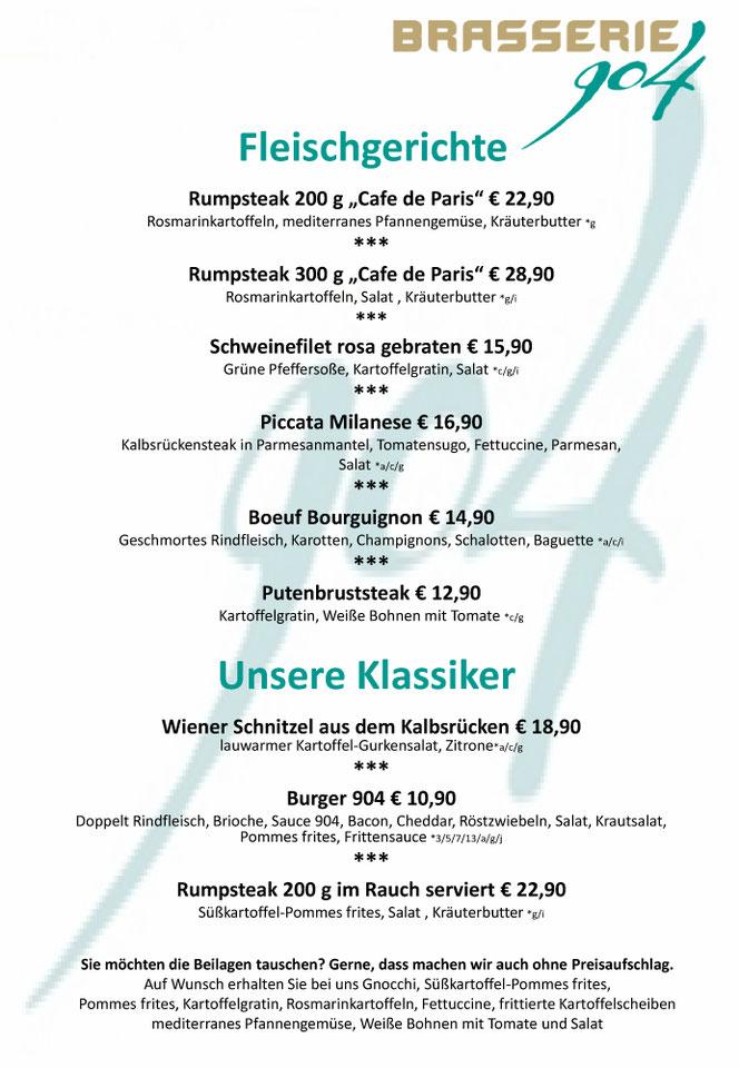 Brasserie 904 - Speisekarte Fleischgerichte