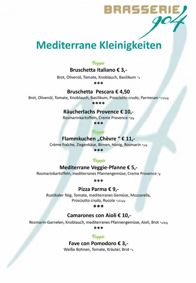 Brasserie 904 - Speisekarte Mediterrane Kleinigkeiten