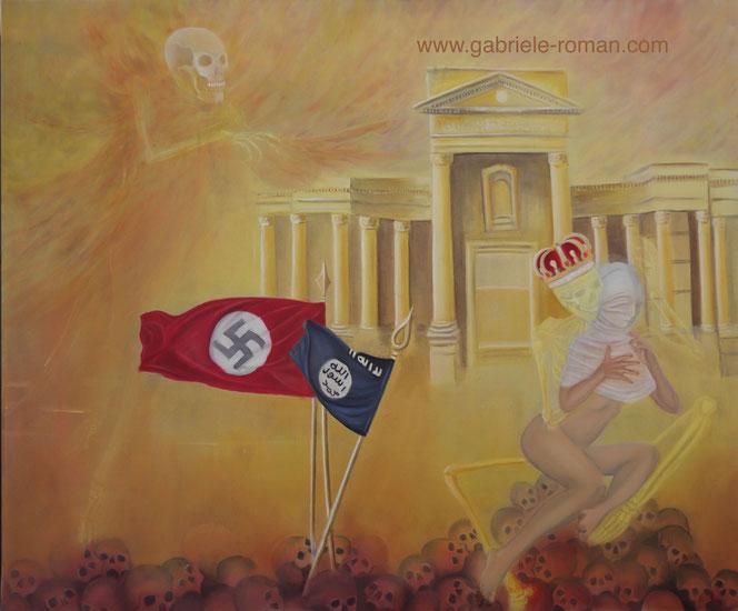 Der König Tod sitzt auf einem Berg von Totenschädeln vor Palmyra. Er verhüllt mit einem Leichentuch die Wahrheit, Freiheit, Kunst in Gestalt einer nackten Frau.