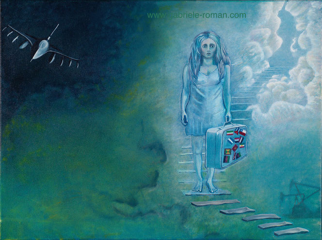 Ein Wesen (Tod, Engel) steigt eine Himmelstreppe hinab. Es trägt einen Koffer mit vielen Landesflaggen.Links oben erscheint eine F 16. Rechts im Hintergrund: Ölförderung