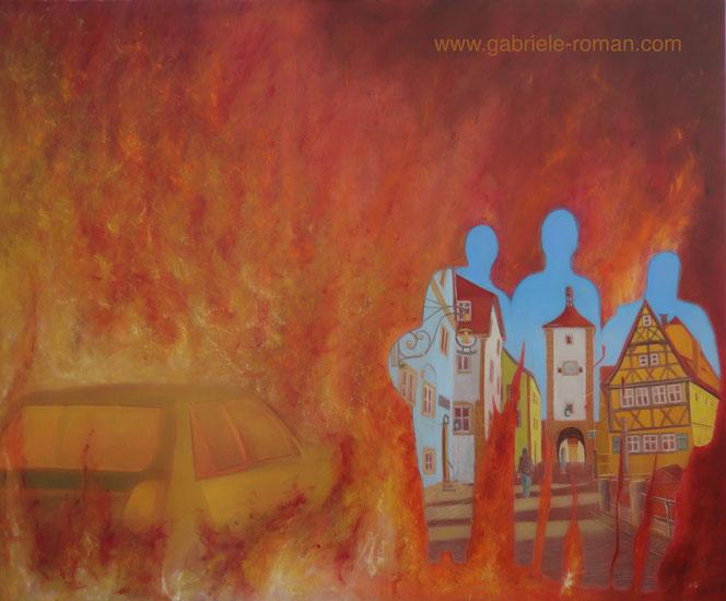 Kriegsgebiet: brennendes Auto, Männer auf der Flucht ins idyllische Rothenburg ob der Tauber. Im Umriss der Flüchtlinge sieht man den Malerwinkel.