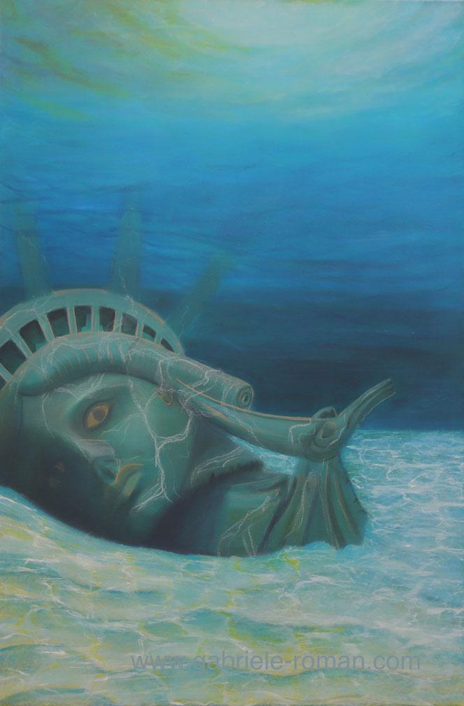 Der Kopf der New Yorker Freiheitsstatue liegt zerbrochen auf dem Meeresgrund.