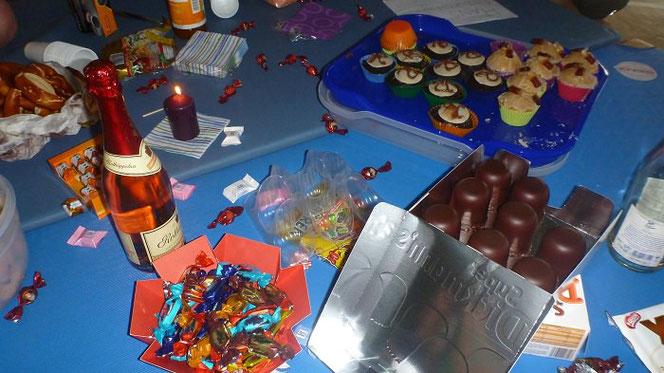 Fressgelage mit Süßigkeiten und Sekt