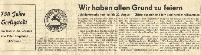 Bild: Teichler Seeligstadt Chronik 1978